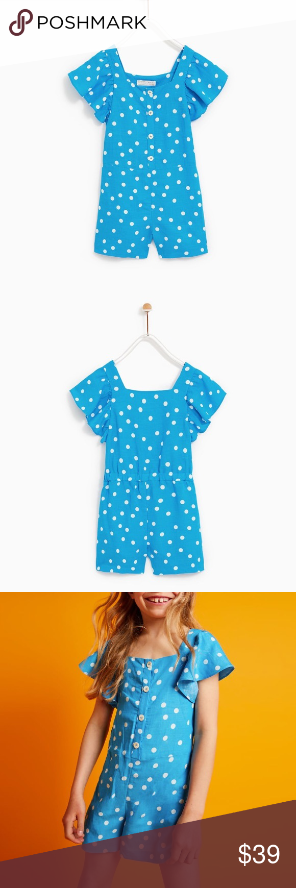 9fd47c8a29 Zara girls polka dot jumpsuit Love pretty colors with polka dots... playful  look.... size 11 12 Zara Bottoms Jumpsuits   Rompers
