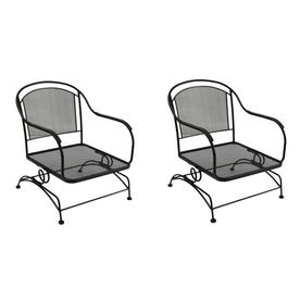 Awesome Garden Treasures Set Of 2 Davenport Black Wrought Iron Mesh Seat Patio  Spring Motion Chairs