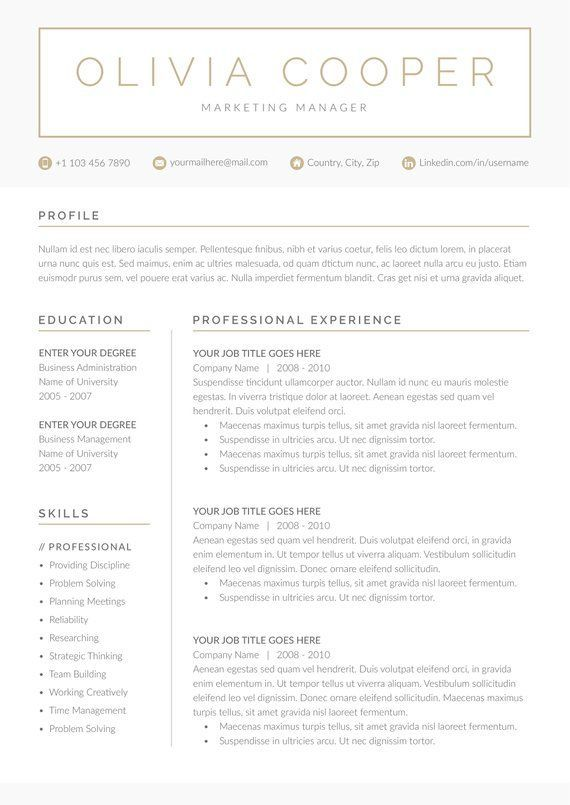 Modern Resume Template 4 page | CV Template + Cover Letter ...