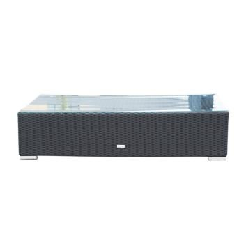 LUXO MAHO LONG COFFEE TABLE WITH OTTOMAN CUSHION - BLACK DLXPDCTS292 ...