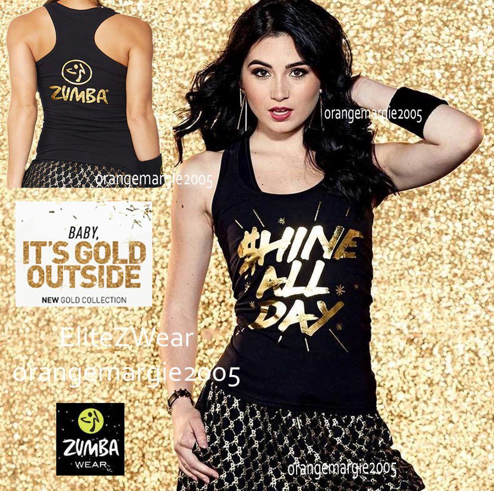 "ZUMBA /""Burn It Up/"" Bubbletop Tank Tee w Bling Gold Foil Zumba Signature Logo S M"