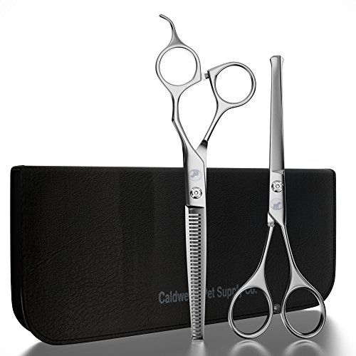 Caldwell's Long and Short Haired Cat and Dog Grooming Scissors - Set of Two - 1 Pair Pet Thinning Shears with 1 Pair Round Tip / Ball Tip Safe Edge Trimming Shears - Stainless Steel -- For more information, visit image link.