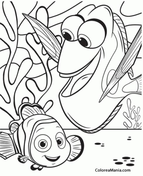 Colorear Dory Y Nemo Cogidos De La Aleta Buscando A Dory Dibujo Animales Animados Para Colorear Dibujos Para Colorear Libros Para Colorear