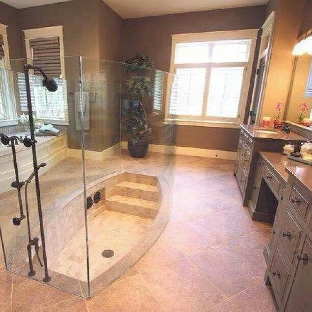 Love the in the floor shower.Great Idea!!