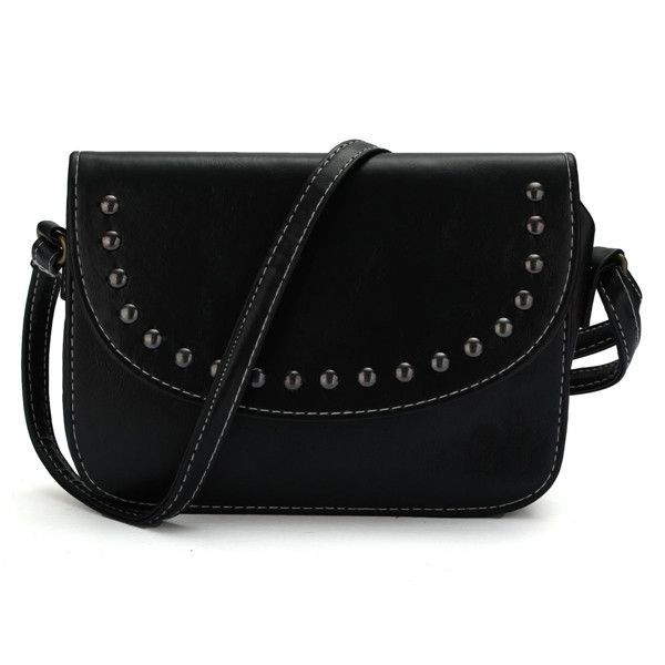 900b857f67 Women Oil Leather Retro Simple Small Square Shoulder Rivet Diagonal Bags