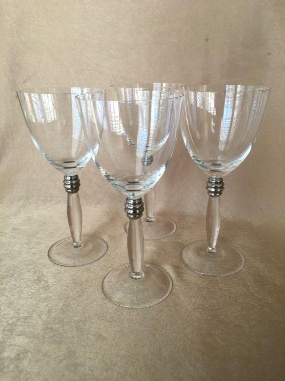 Vintage Wine Glasses Art Deco Style Crystal Wine Glasses Etsy Vintage Wine Glasses Vintage Wine Wedding Glassware