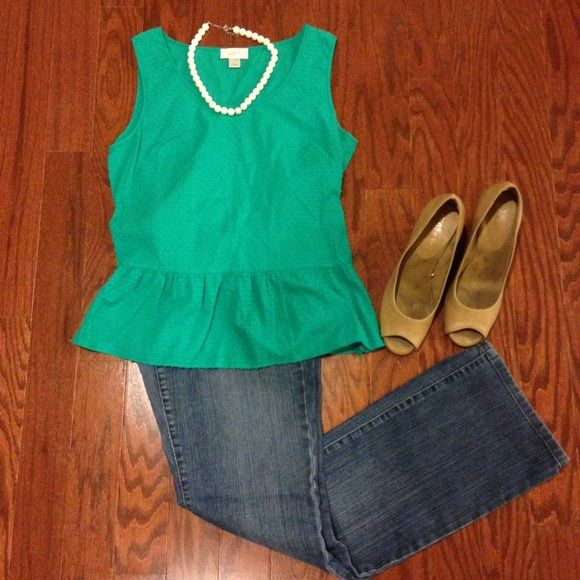 Loft green peplum tank top blouse Close up to show zipper detail on side and shirt texture. Greenish blue peplum tank top blouse. Rest of outfit also on sale in my closet (LOFT bootcut jeans, LOFT pearl necklace, and aerosols nude/brown peep toe pumps) - bundle for a deal! LOFT Tops Blouses