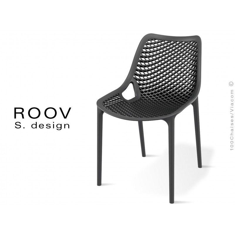 Chaise Roov Plastique Pour Exterieur Bar Restaurant Jardin Couleur Noir Chaise Mobilier De Salon Table Et Chaises