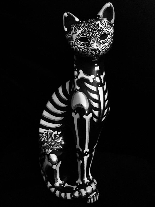 Day Of The Dead Cat Sugar Skull Kitty Figure Statue Collectible