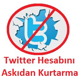 Twitter Hesabını Askıdan Kurtarma http://www.seomektebi.com/2015/01/twitter-hesabn-askdan-kurtarma.html Twitter hesabını kurtarma,Askıya alınan twitter hesabını kurtarma  Her sosyal medyanın kendine uygun olan çeşitli kuralları bulunmaktadır,belirlenen bu kurallar ilk üye olunurken zaten belirtiliyor çoğu zaman site kurallarını kimse okumadan sadece kutucuğa işaret bırakarak üyelik işlemini bitirilir.