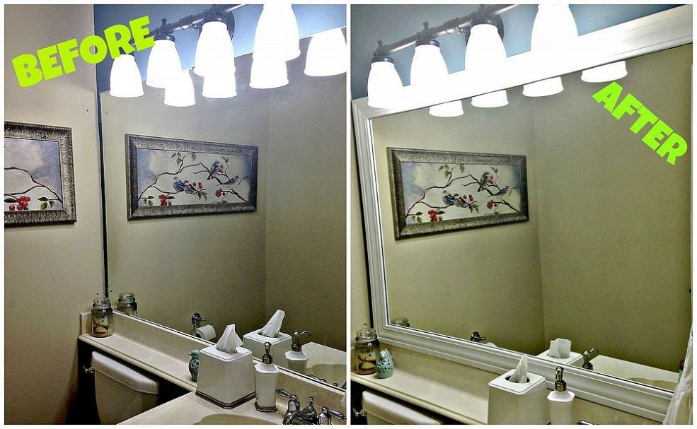Framing Your Builder Grade Bathroom Mirror More Builder Grade And Bathroom Mirrors Ideas