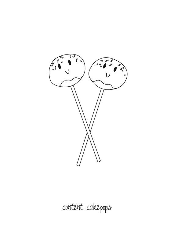 Downloadable Coloring Page Content Cakepops by TheKneppraths | Art ...