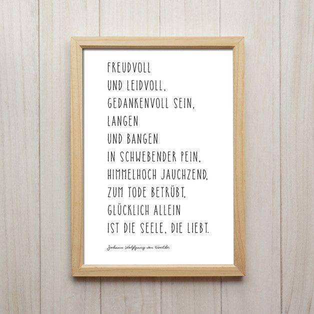 Goethe Zitat über Die Liebe Kunstdruck Für Die Wand