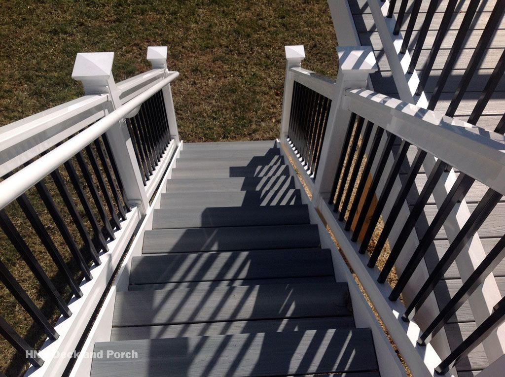 Need A Set Of Steps Off Of You Deck Check Out Our Pictures Of Different Types Of Staircases Either High Off The Groun Deck Steps Deck Colors Composite Decking