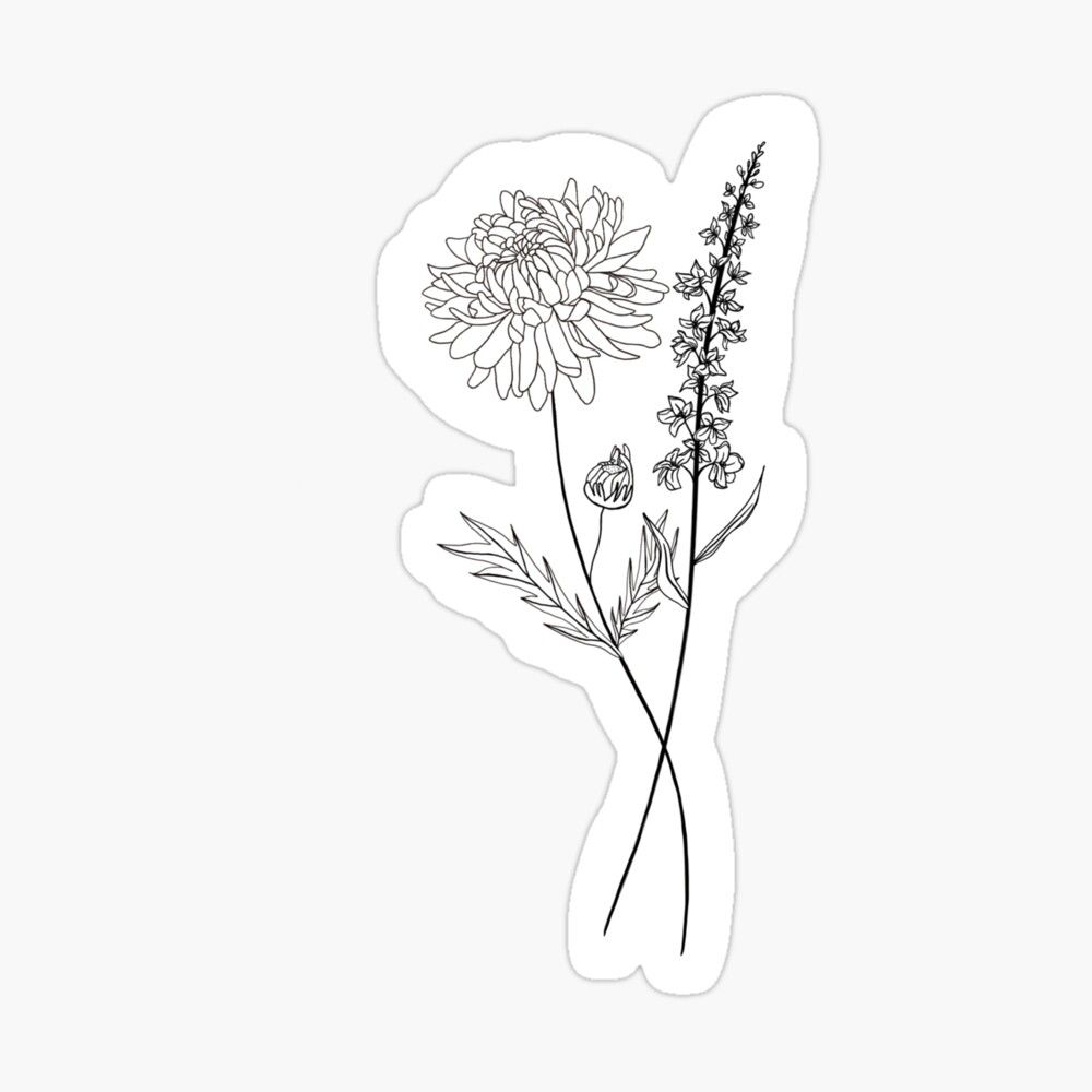 Flower Bouquet Of 2 Sticker By Ekwdesigns In 2020 Birth Flower Tattoos Chrysanthemum Flower Tattoo Chrysanthemum Tattoo