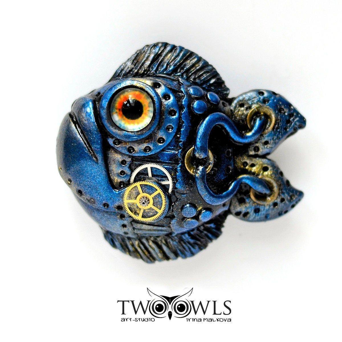 Goldfish Steampunk jewelry Fish tank decoration Fish pin