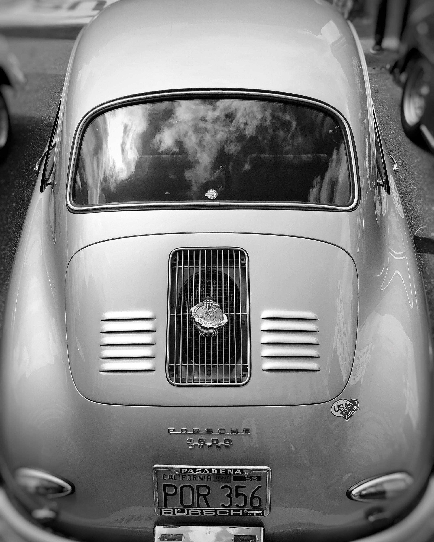 Silver Coupe | Porsche German Automotive | Classic Car | Restaurant Décor | Hotel Décor | Black & White | Fine Art