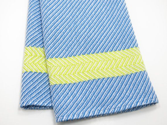 Handwoven Dish Towel For Kitchen Or Bath Blue Yellow Towel