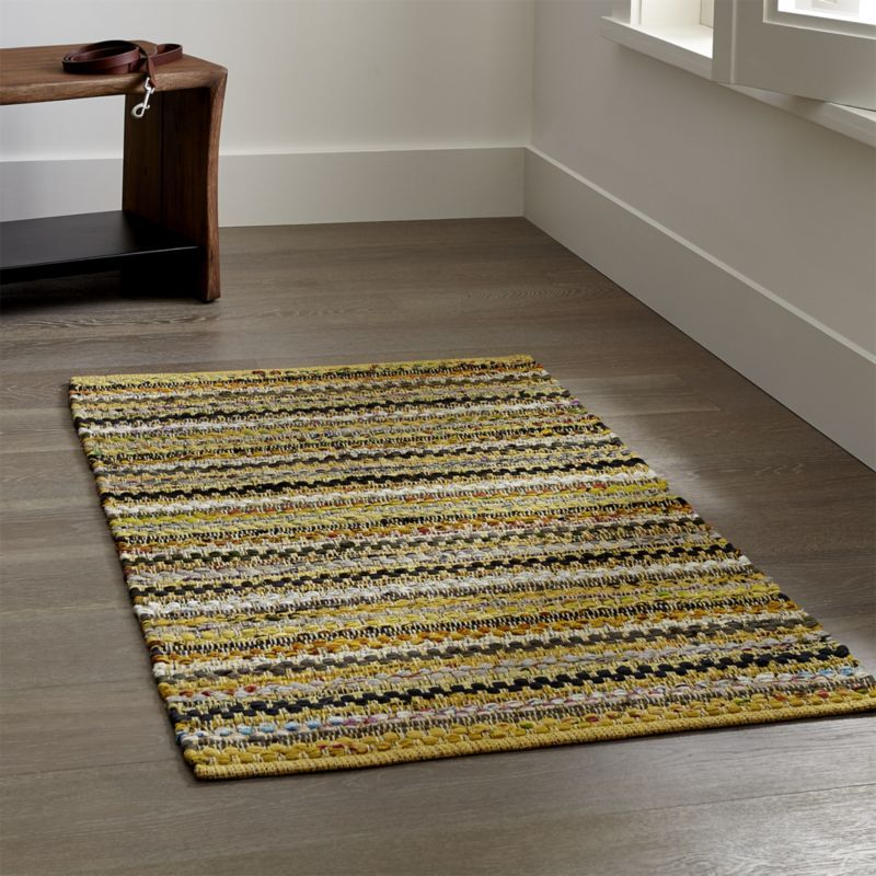 Pinstripe Yellow Cotton Rag Rug | Crate and Barrel ...