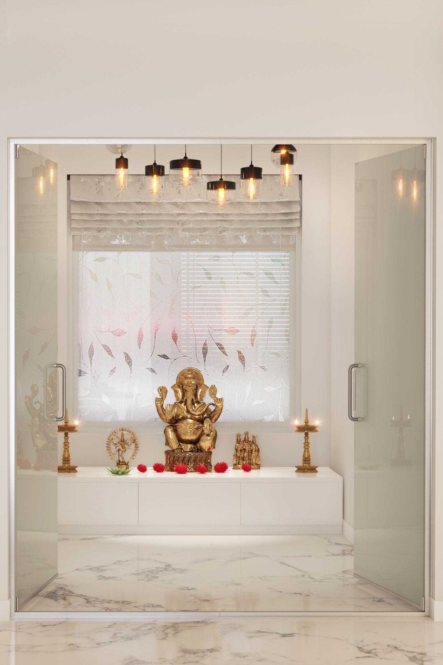 Pooja room designs for that divine corner at home ceiling lights