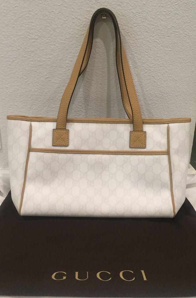 Authentic Gucci Handbag Ivory Monogram W Brown Leather Purses Fashion