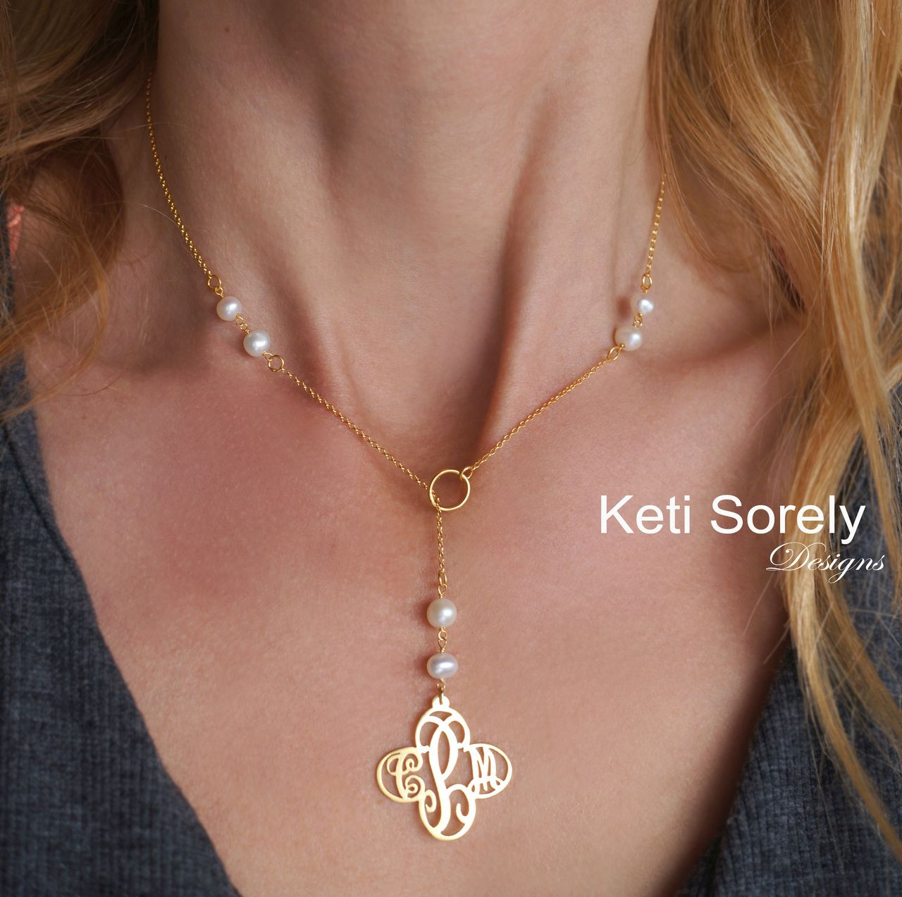 44f05903a3f21 Cross Monogram Necklace with Freshwater Pearls -Lariat Style ...