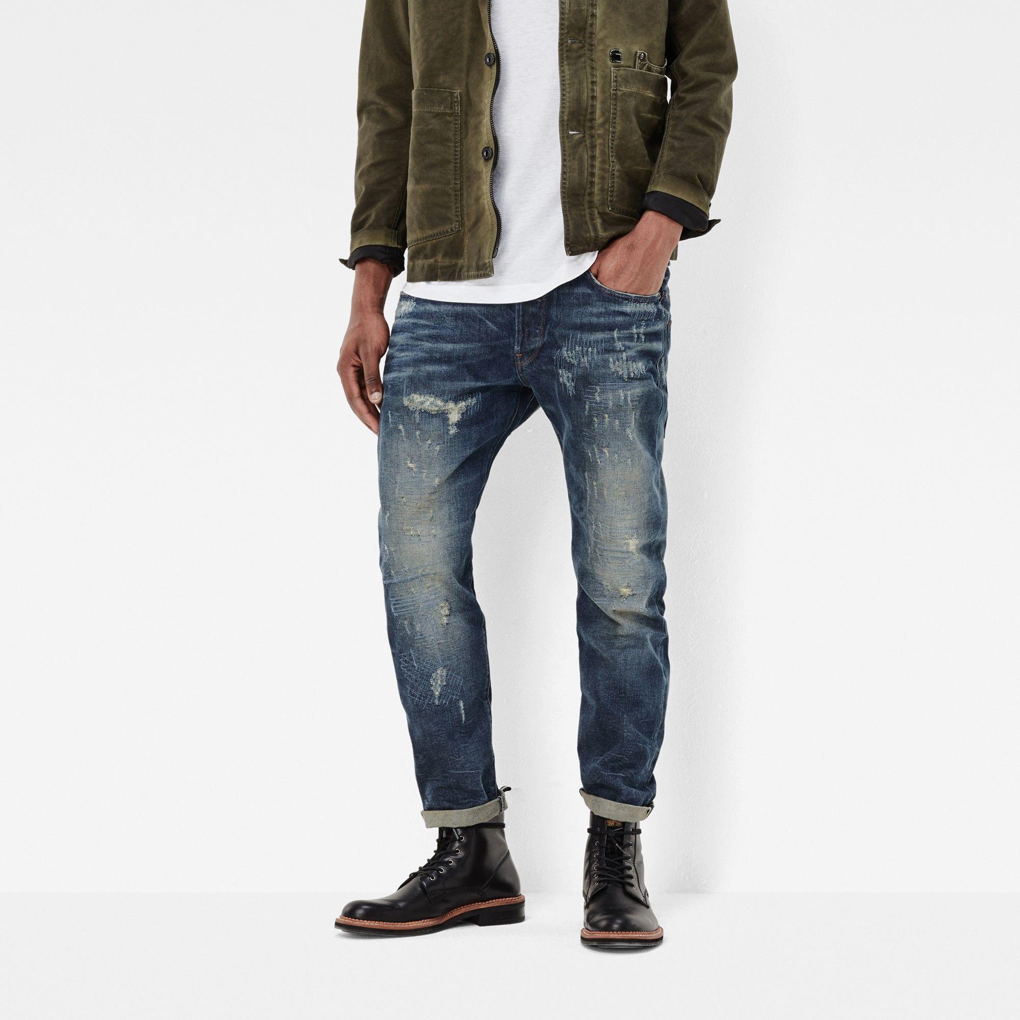 32470f0efc2 G-Star RAW | Men | ジーンズ | Us Lumber Classic Tapered Red Listing Jeans ,  Medium Aged Restored 54