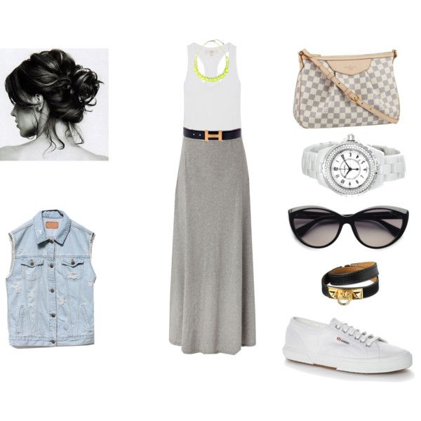gray t-shirt maxi skirt and white tank top ... I'd go for a denim ...