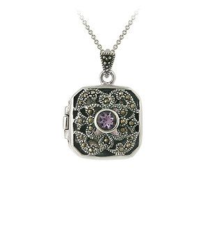 Another great find on #zulily! Amethyst & Marcasite Rounded Square Locket Necklace by Designs by FMC #zulilyfinds