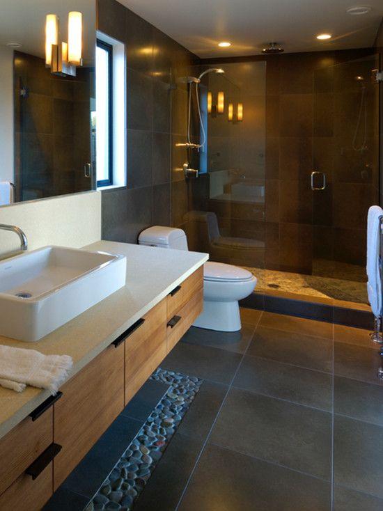 Charcoal Black Pebble Tile Border Dark Bathrooms Wood