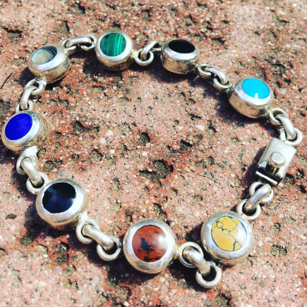 Jewelry & Watches Non-u.s. Silver Frederick Davis Mexican Sterling Link Bracelet W/ Small Round Turquoise Stones