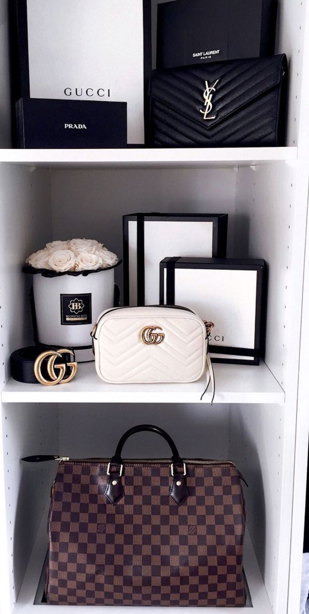 8373aa4fc5e77 Gorgeous closet with even more gorgeous bags. Louis Vuitton. Gucci ...