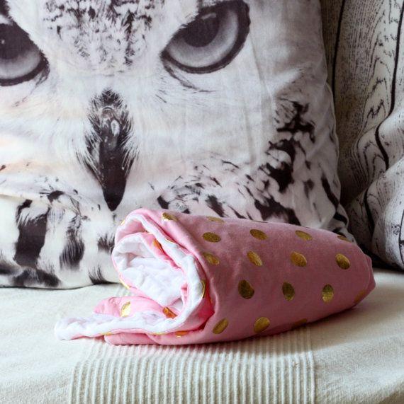 BABY MINKY BLANKET Super Soft  Newborn Gift Girl by EcoBabyShop