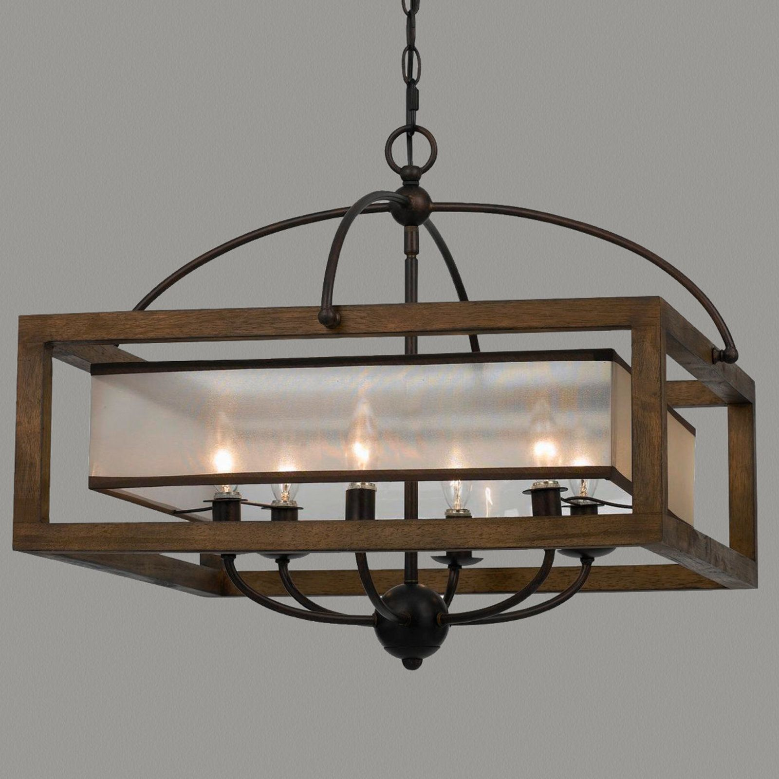 Square Wood Frame And Sheer Shade Chandelier Lighting In