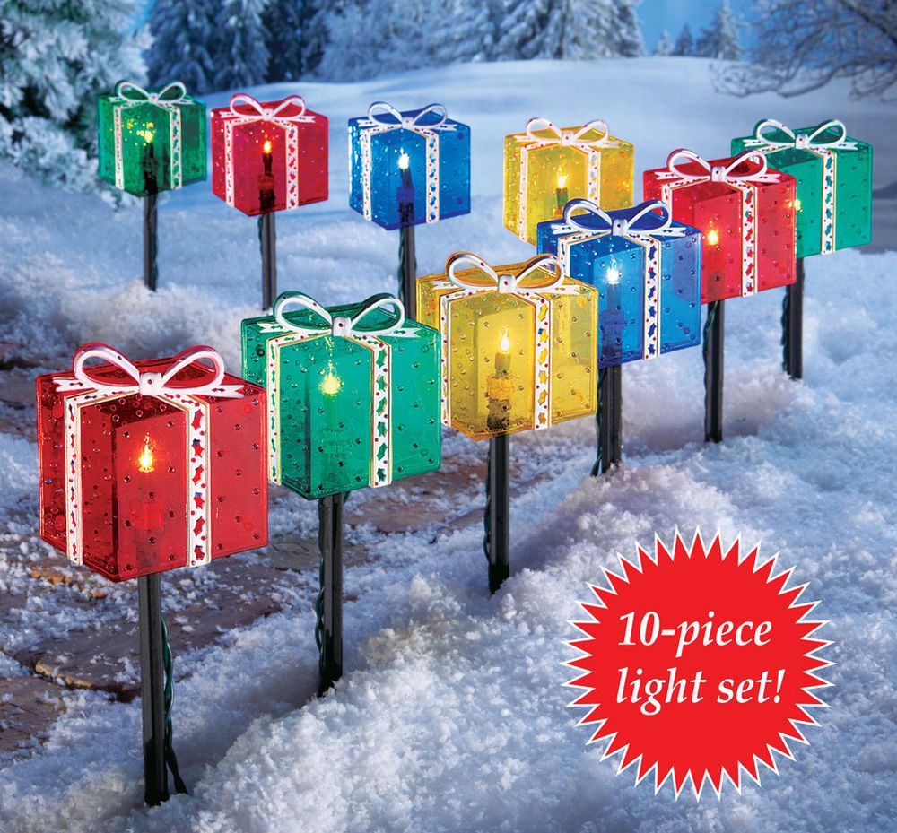 Lighted christmas gift boxes yard decor - Christmas Presents Gift Box Outdoor Pathway Light Set Holiday Yard Decor New