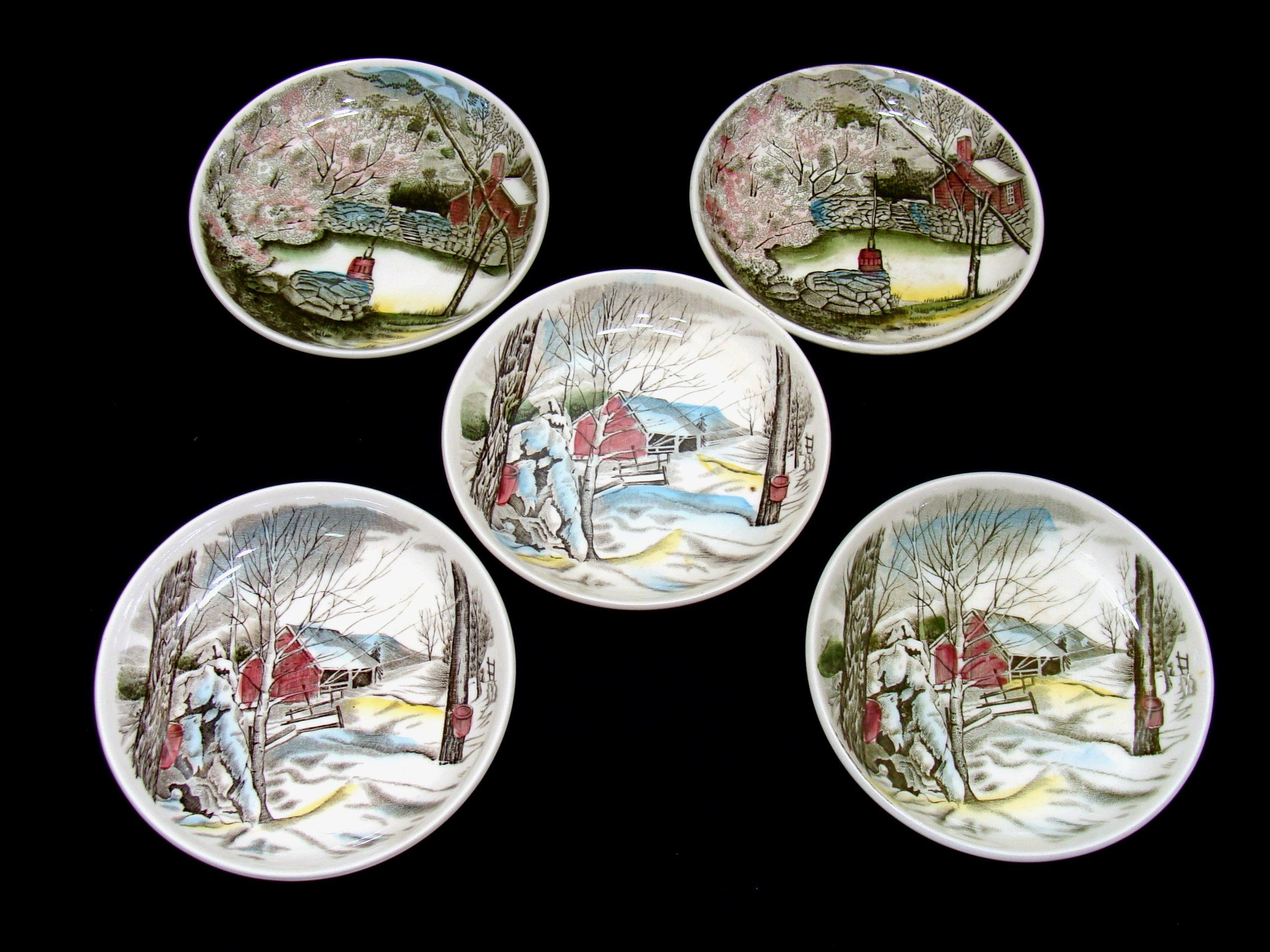 Vintage Johnson bros friendly village plates lot - nice holiday ...