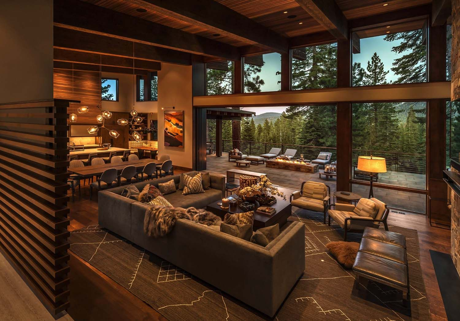 Warm and inviting retreat surrounded by the Sierra Nevada mountains is part of Warm Contemporary Living Room - This contemporary mountain retreat was designed by Walton Architecture, located in the private community of Martis Camp, Truckee, California