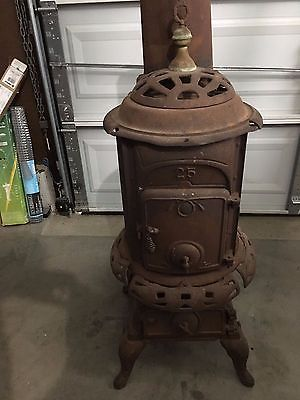Details about Vintage Round Wood Burning castiron Stove Repair or