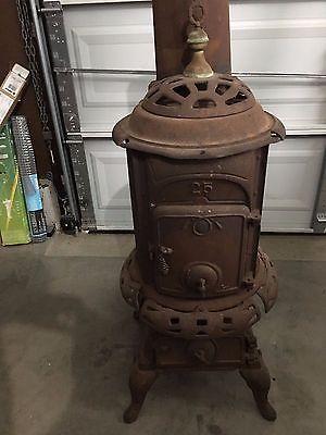 Vintage Round Wood Burning Castiron Stove Repair Or Parts Wood Stove Stove Repair Antique Wood Stove