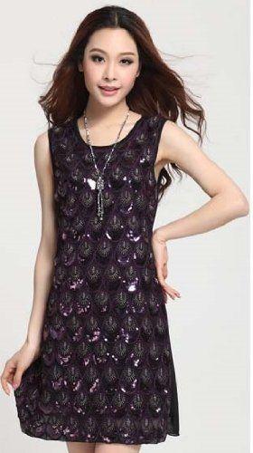 Amazon.co.jp: FrontStage ファッションショップ・ノースリーブ・孔雀羽根モチーフのスパンコール縫い付けおしゃれOLワンピ・パーティドレス: 服&ファッション小物通販