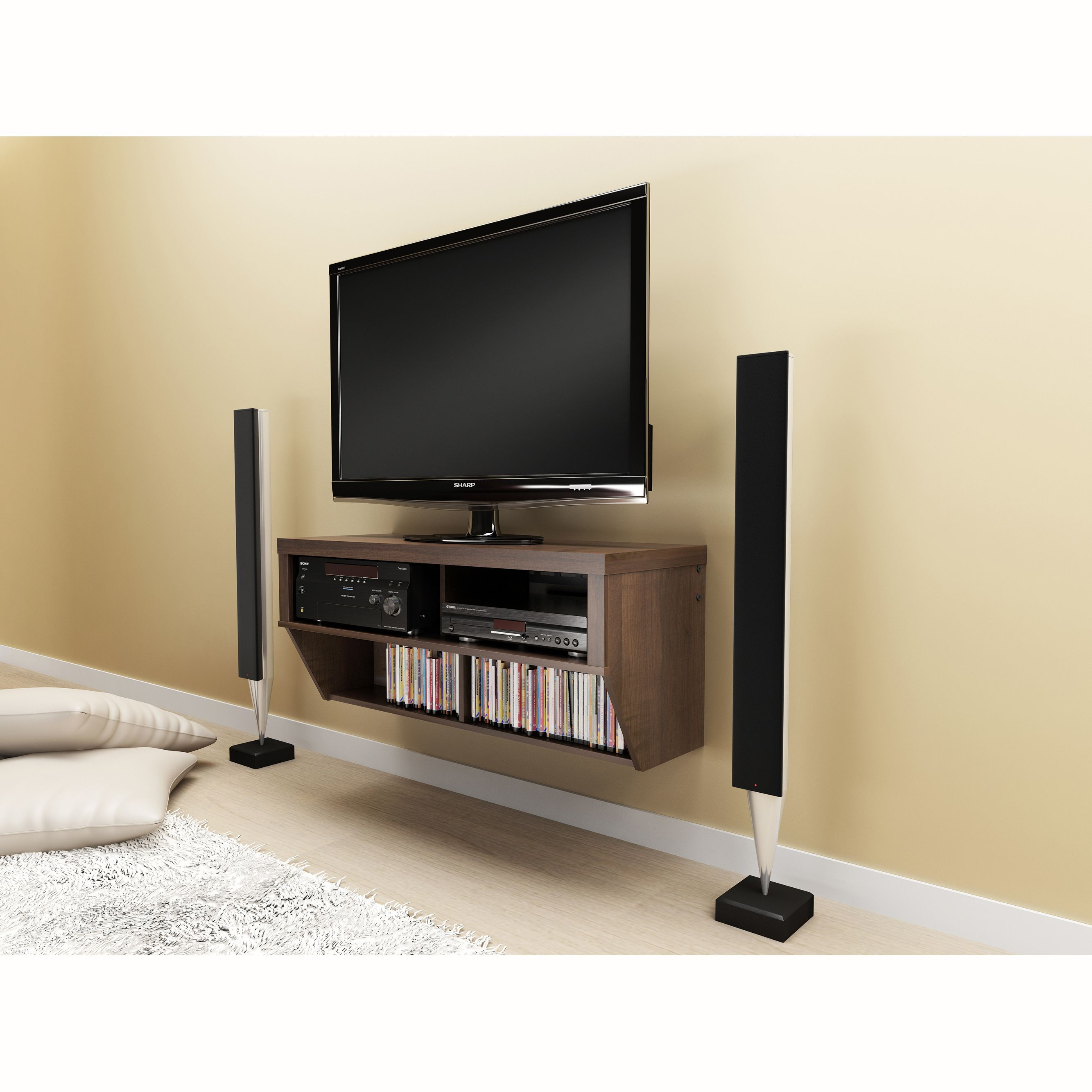 This dark-espresso, wall-mounted AV console combines functionality ...
