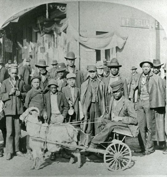 View of an unidentified African American man sitting in a goat-drawn cart surrounded by a group of men and boys.