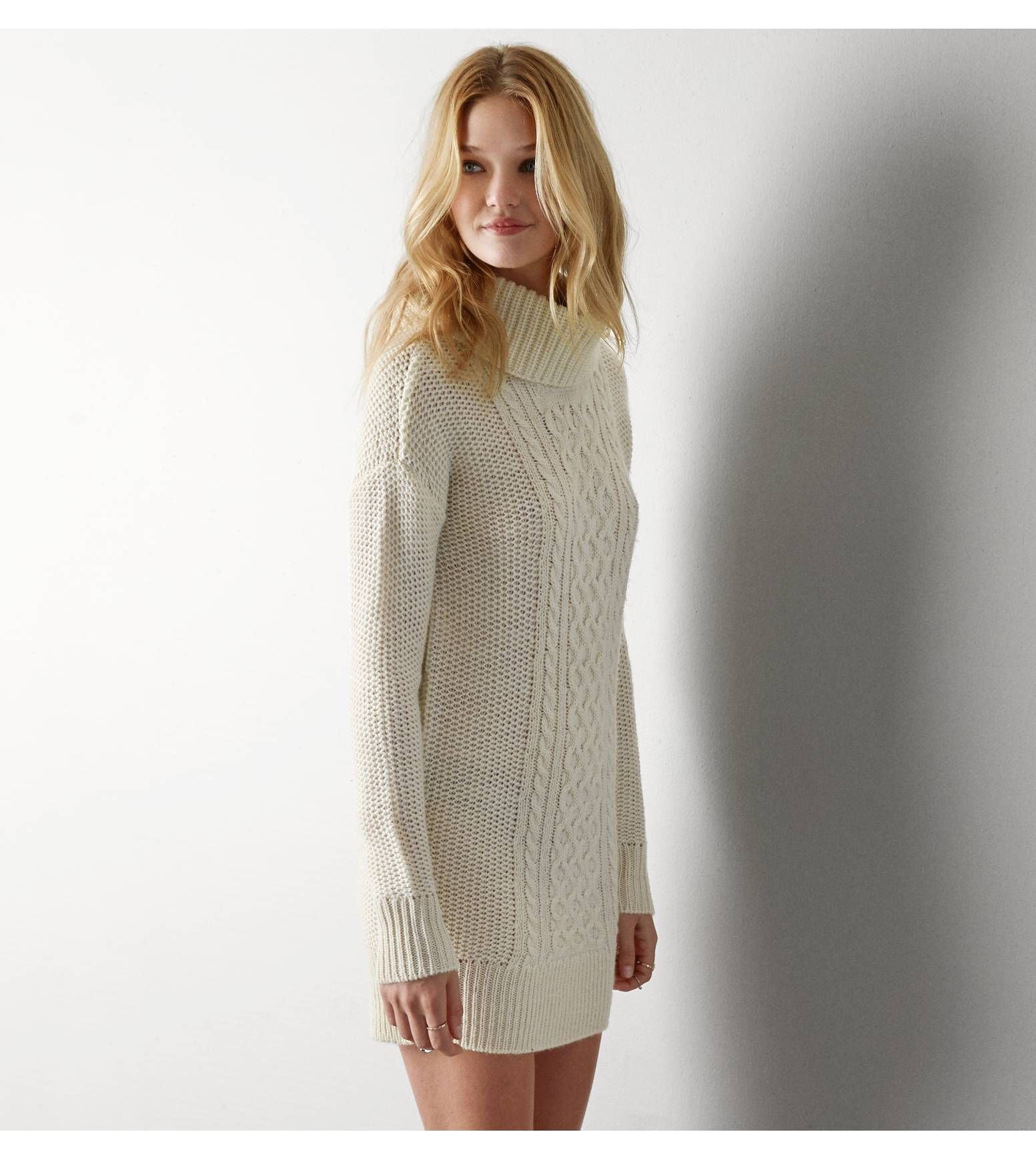Cream Cowl Neck Sweater Dress Her Sweater