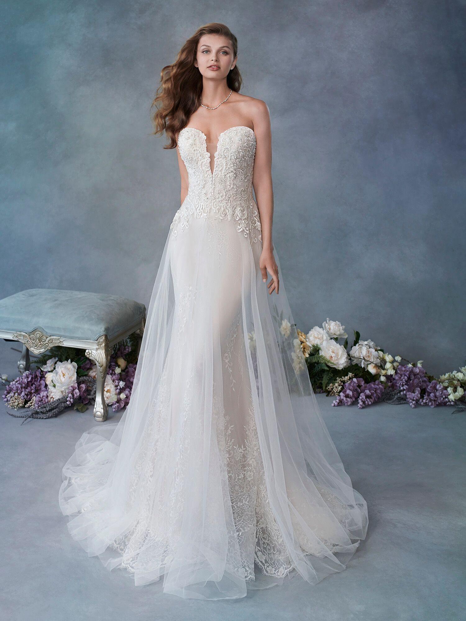 Unique lace over lace wedding dress. Mermaid bridal gown