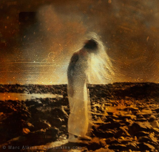 Marc Atkins 'Woman on distant beach'