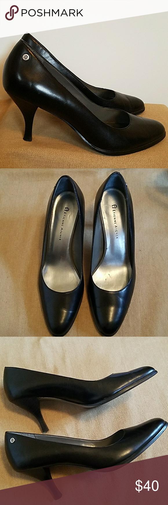 391828f825 EUC Etienne Aigner black leather pumps sz 7.5 3 inch heel. Classic black  pump.