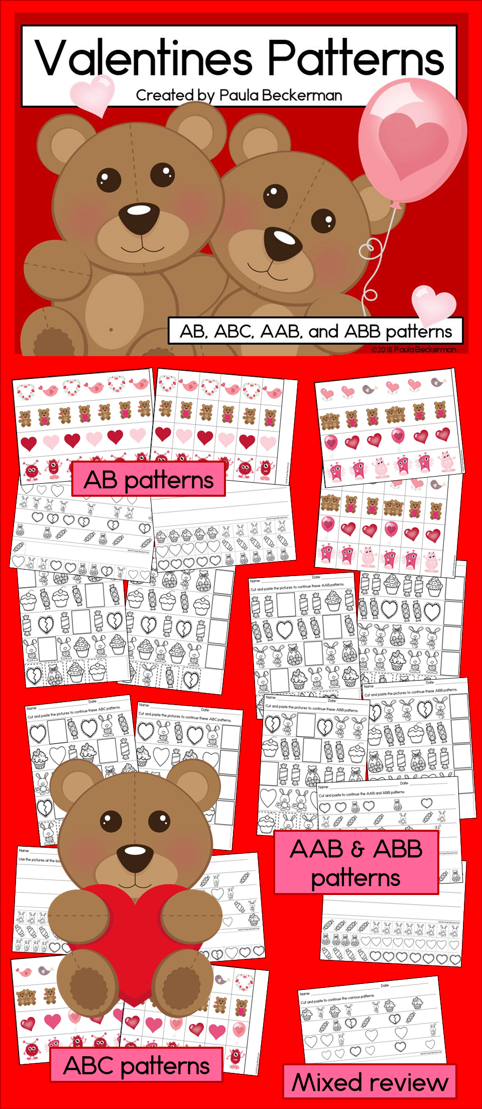 Valentines Patterns Math Center with AB, ABC, AAB & ABB Patterns