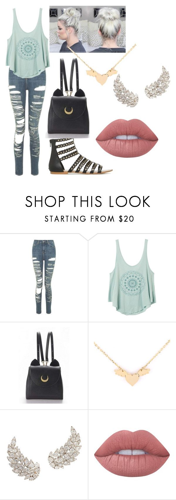 """""""weekend shopping day"""" by sweetieangelrose ❤ liked on Polyvore featuring Topshop, RVCA, WithChic and Lime Crime"""