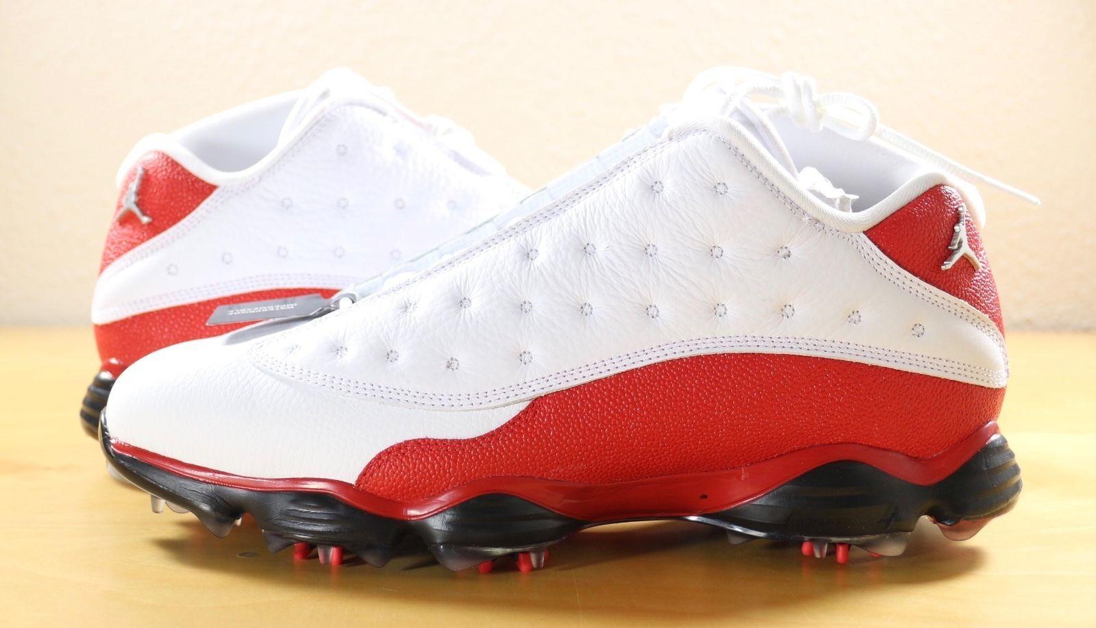 b6ea70a0b10 Nike Air Jordan 13 XIII Retro Low Golf Shoes Cleats White Red 917719-101 sz  9.5