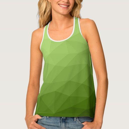 Greenery ombre gradient geometric mesh Lady's all over print tank top by #PLdesign #greenery #geometric #modern